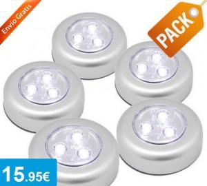 Pack 5 minilámparas LED adhesivas - Oferlandia.com
