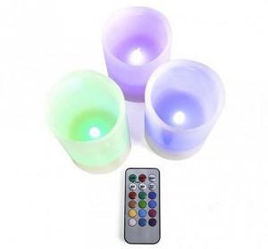 3 Velas LED multicolor con control remoto - Oferlandia.com